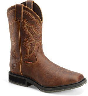 "Light Brown Double H Boot 12"" Waterproof Wide"