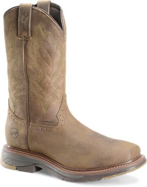 Light Brown Dark Olive Double H Boot 12 Inch Wide Square Toe Roper Buster