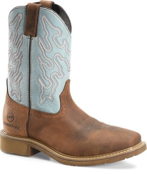 Peanut Aqua Double H Boot 11 WorkFlex Wide Square Toe Roper