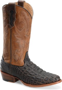 Chocolate Croc Double H Boot 13 Inch Cattle Baron R Toe