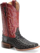 Double H Boot 12 IN  Wide Square Toe Roper Caiman in Dark Walnut Caiman Printed