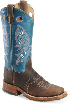 Tan Sea Blue Double H Boot 12 Inch Domestic Square Toe ICE Roper