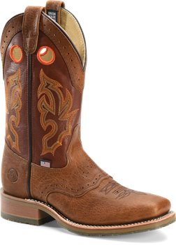 Peanut Bison Double H Boot Domestic Wide Square ST Roper