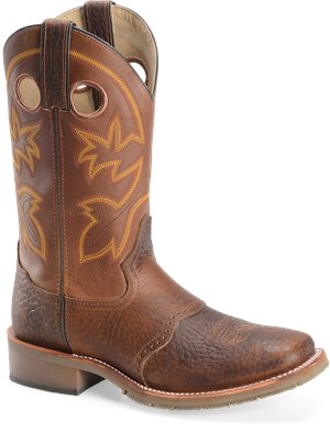 "Mustang Rust Double H Boot 12"" Work Western"