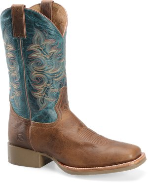 "Tan Turquoise Double H Boot 12"" Mens Work Western Roper"