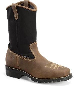 "Tan Black Double H Boot 11"" Domestic Wide Square"