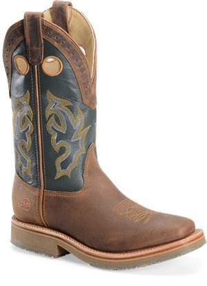"Brown Green Double H Boot 13"" Wide Square"
