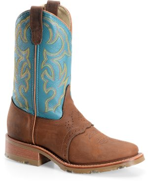 Teal Double H Boot 11 Inch Wide Square Toe Ice Roper