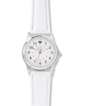 Chrome/White Nurse Mates Chrome Basic Military Dial