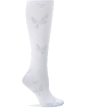 White Butterfly Nurse Mates Compression Trouser Socks