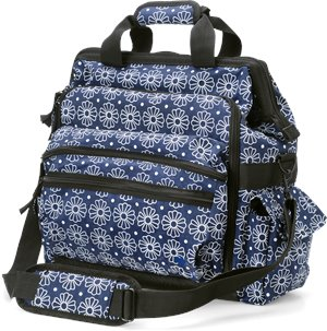 Navy White Geo Floral Nurse Mates Ultimate Nursing Bag