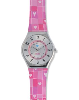 Pink Nurse Mates Checkered Hearts Jelly Watch