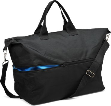 Black/Blue Nurse Mates Expandable Zip Tote