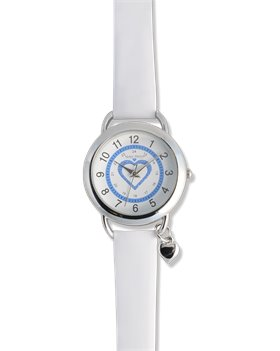White Nurse Mates Sparkle Heart Charm Watch