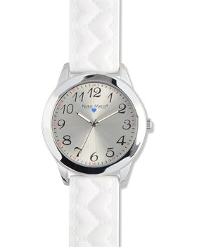White Nurse Mates Bumpy Heart Strap Watch