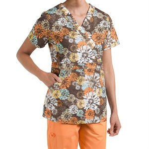 Multi Orange Nurse Mates Bella Print Top