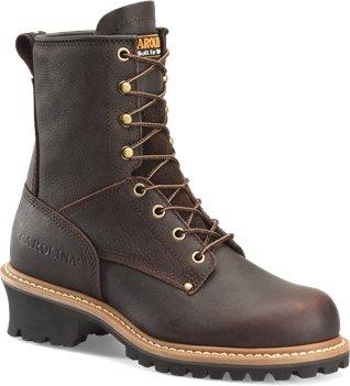 Dark Brown Soggy Carolina 8 Inch Logger Steel Toe