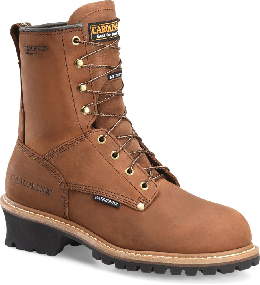 Carolina 8 Inch Logger Non-Steel Toe : Copper Crazy Horse - Mens
