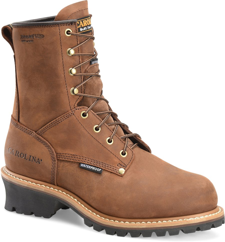 Carolina 8 Inch Logger Steel Toe : Copper Crazy Horse - Mens