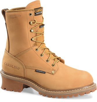 Wheat Carolina 8 Inch Steel Toe  Nubuck Logger