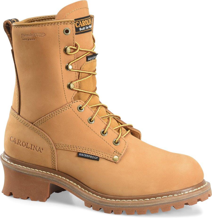 Carolina 8 Inch Steel Toe  Nubuck Logger : Wheat - Mens