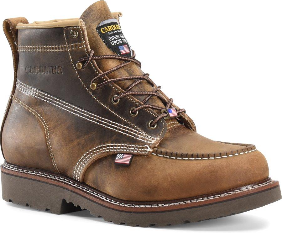 Carolina Domestic 6 Inch Moc Toe Work Boots : Dark Brown - Mens