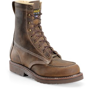Dark Brown Carolina 8 In Moc-Toe Steel Toe Work Boots