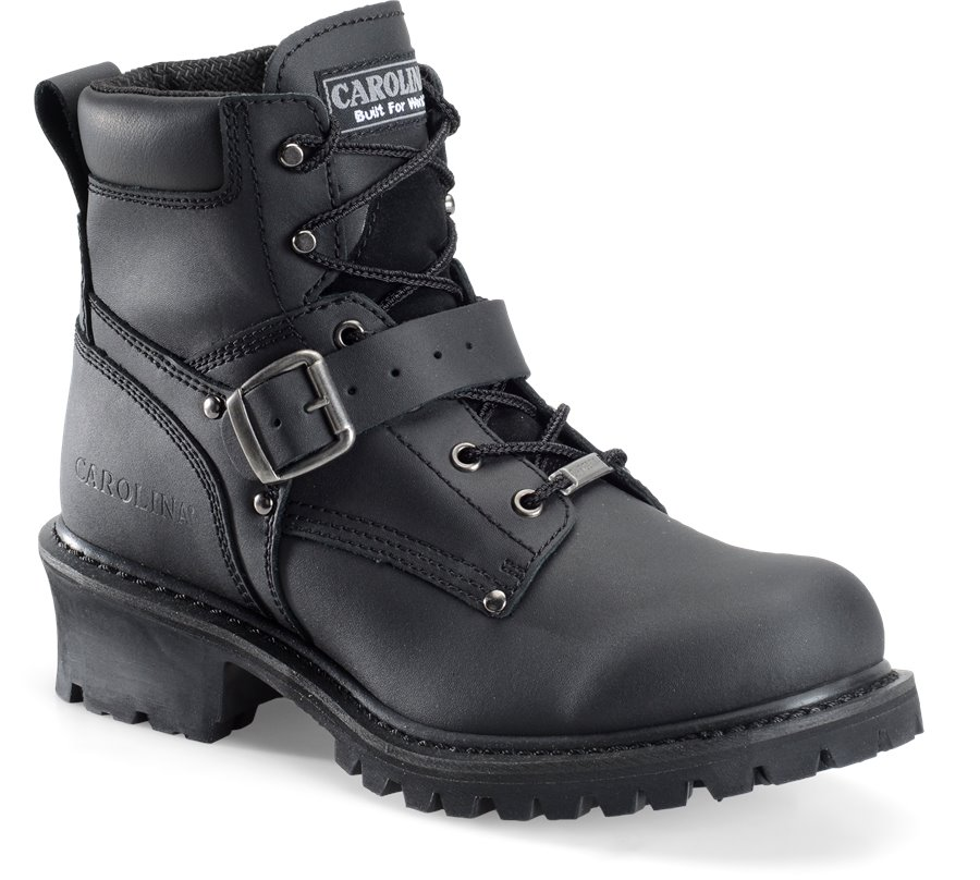 Carolina Mens 6 Inch Ankle Strap Side Zipper Logger : Black - Mens