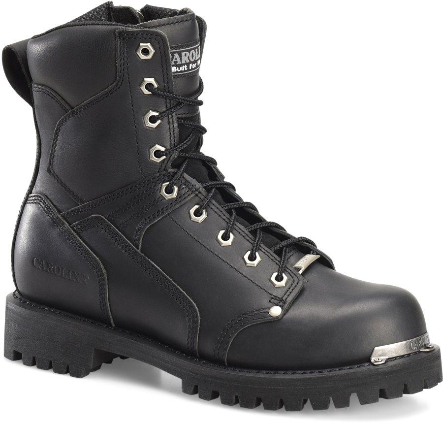 Carolina 8 Inch Lace to Toe Side Zipper Work Boot : Oil Black - Mens