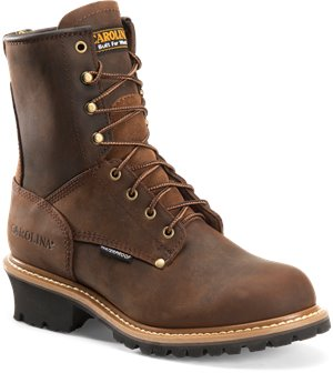 Dark Brown Carolina 8 Inch Plain Steel Toe Logger