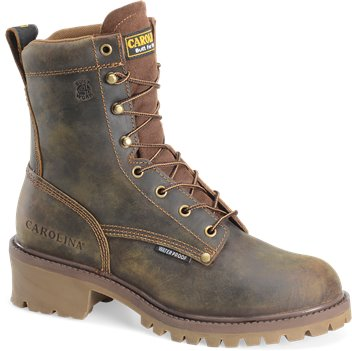 Dark Brown Carolina 8 Inch Waterproof Steel Toe Logger