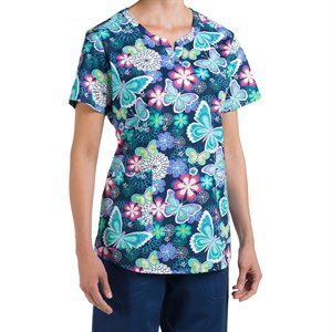 Multi Butterfly  Nurse Mates Nadia Print Top