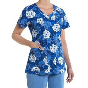 Blue Multi Nurse Mates Nadia Print Top