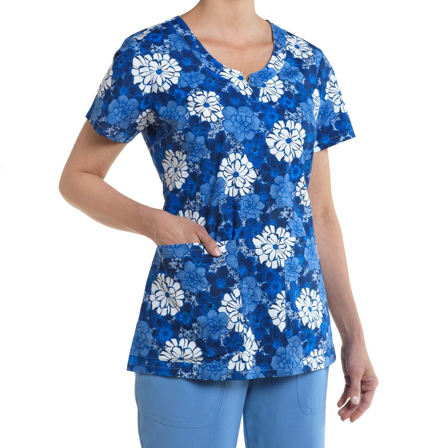 Nurse Mates Nadia Print Top : Blue Multi - Womens