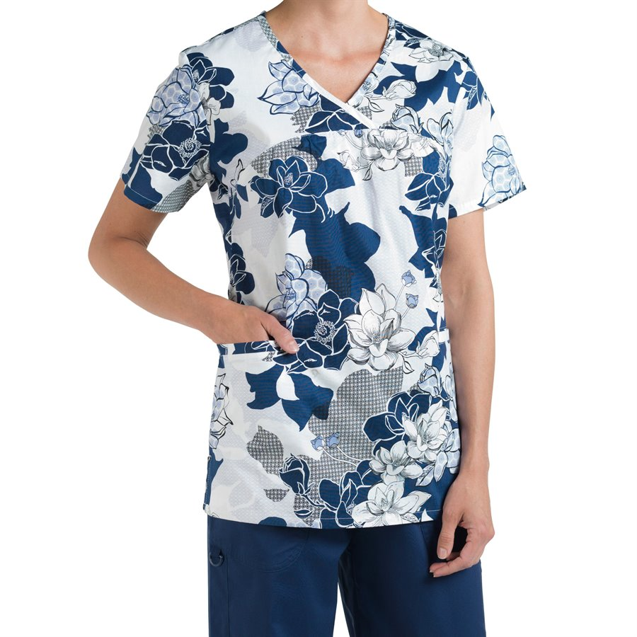 Nurse Mates Phoebe Print Top : Blue White - Womens