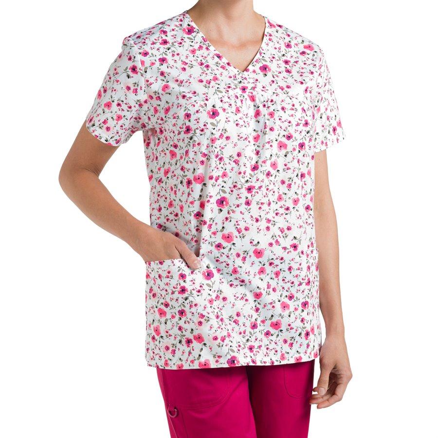 Nurse Mates Naomi Print Top : Pink Floral - Womens