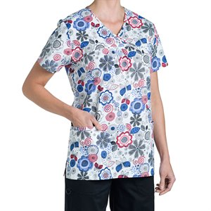Pink and purple floral Nurse Mates Naomi Print Top