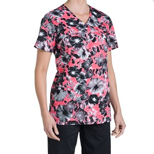 Abstract floral Nurse Mates Naomi Print Top