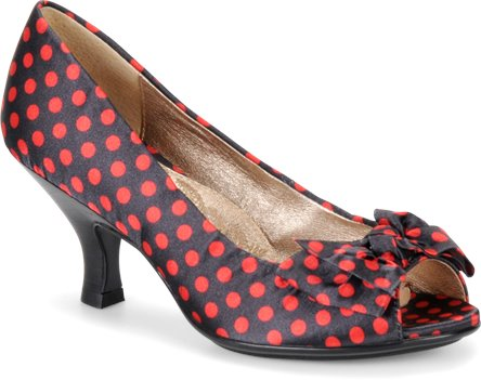 Black & Red Polka Dot Satin Sofft Valetta