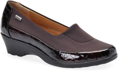 Dark Brown Croco Patent Softspots Sissel