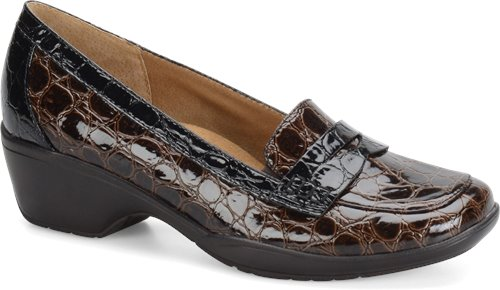 Dark Brown-Black Round Croco Patent Softspots Maven