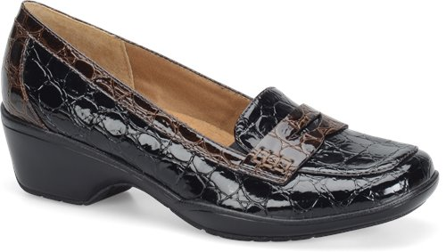 Black-Dark Brown Croco Patent Softspots Maven